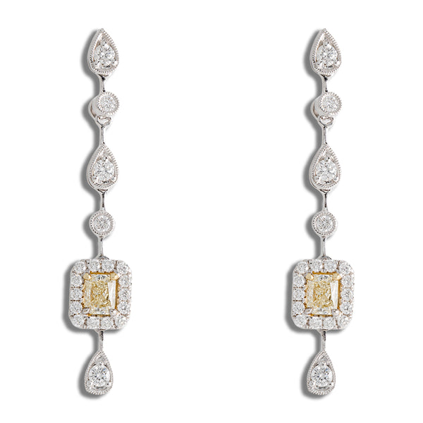 Hanging Earrings With Diamonds And Fancy Yellow Stones