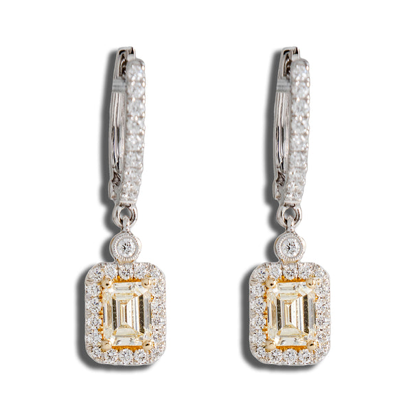Fancy Yellow Emerald Diamond Center stone Earrings