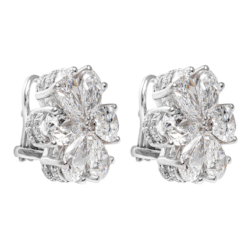Flower Earrings With GIA Diamonds
