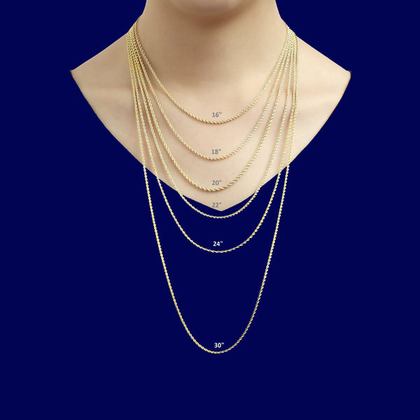 DIAMOND CUT ROPE CHAIN 2MM 14KT SOLID GOLD