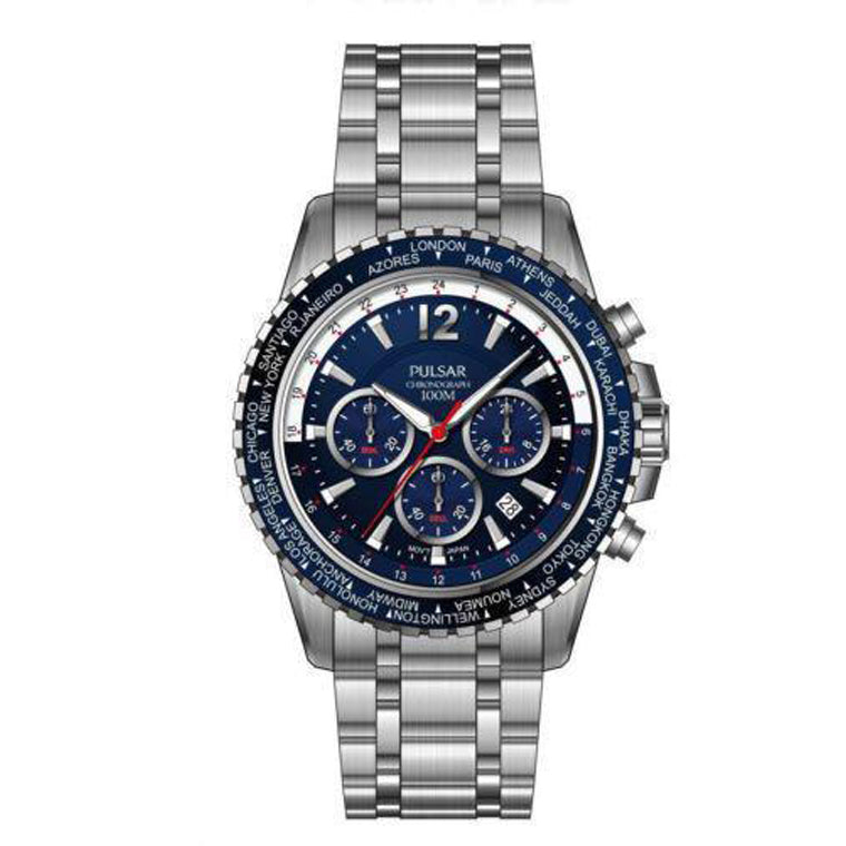 41cc004b7 Pulsar Quartz Chronograph Watch with Stopwatch and 24-Hour Sub-Dial