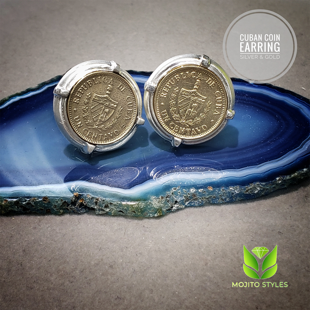 c64505c6d Cuban un centavo coin Solid 14 Kt Gold Coin and 925 Sterling Silver Earrings