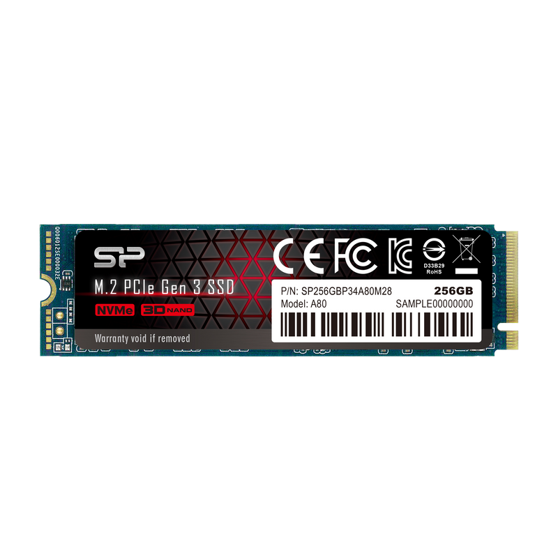 Silicon Power P34A80 256GB PCIe Gen3x4 M.2 2280 Internal Solid State Drive
