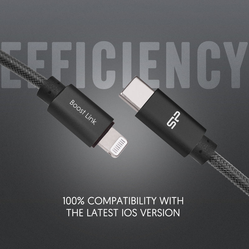 Silicon Power USB C to Lightning Cable Apple MFi Certified, Supports Power Delivery for Apple Devices
