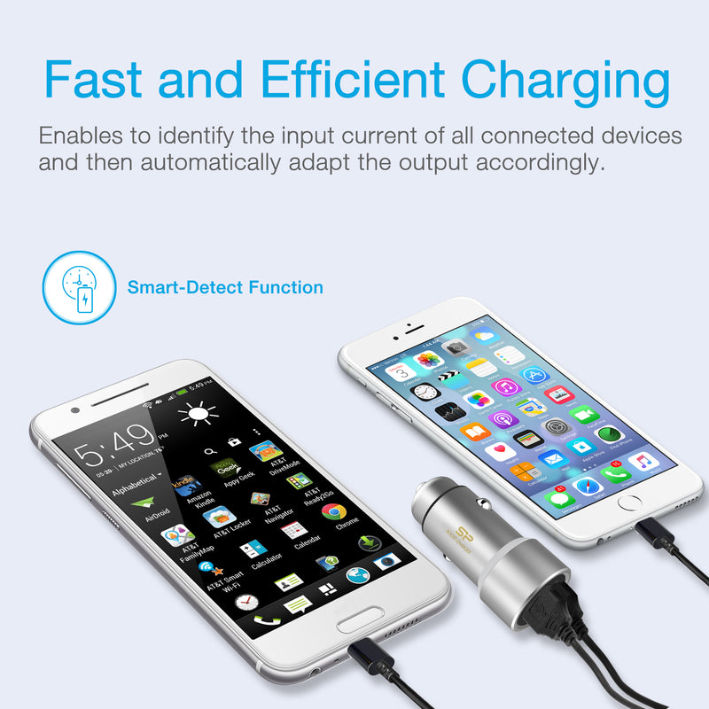 Silicon Power Dual-Port Metal Car Charger Metal-Silver