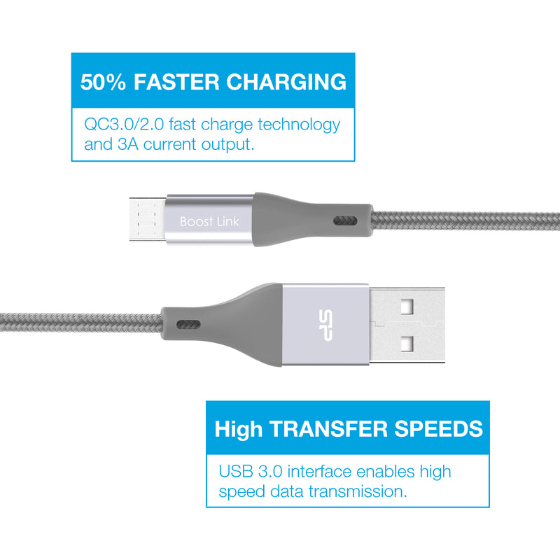 Micro USB 3.3 FT (1M) Nylon Charging Cable [Retail Package]