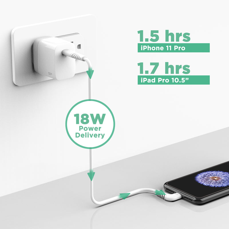 Silicon Power QC 3.0/PD USB-C QM10 Wall Charger with MFi Certified USB Type-C to Lightning Cable