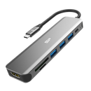 Silicon Power SU20 7-in-1 Docking Station with HDMI, USB Type-A, USB-C PD, SD, and microSD ports