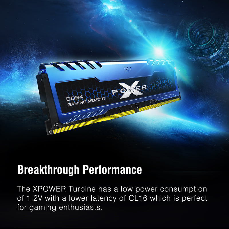 Silicon Power XPOWER Turbine Gaming DDR4 3600MHz (PC4 28800) 16GB(8GBx2)-32GB(16GBx2) Dual Pack 1.35V Desktop Unbuffered DIMM