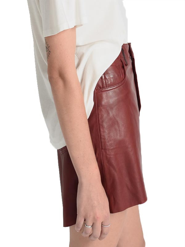 Leather 2020 Mini Skirt in Burgundy