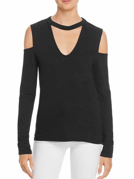 Long Sleeve Shoulder Top with Choker