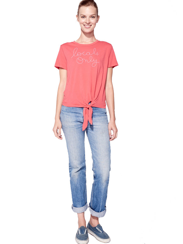 sundry embroidered locals only coral tee