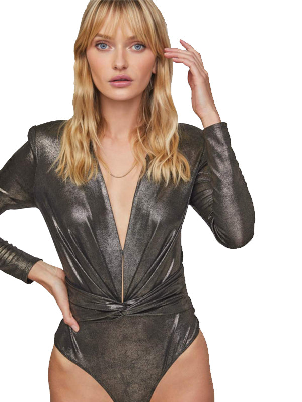 Luxe Bodysuit in Gunmetal