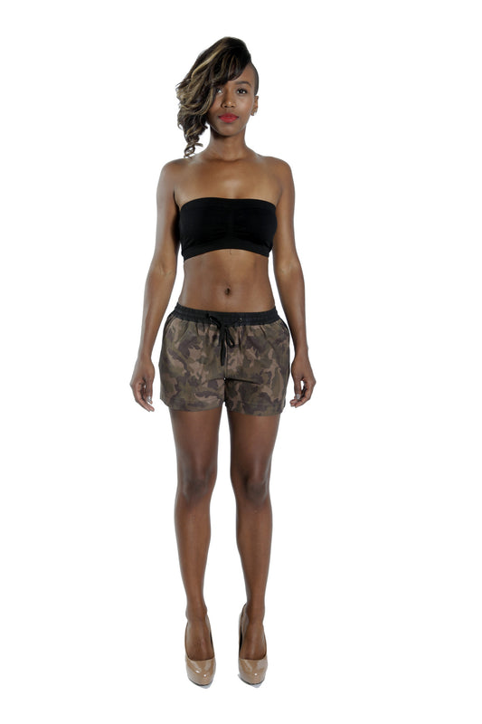 Camo Suede Combo Shorts