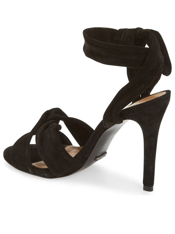 black wrap around high heel sandals