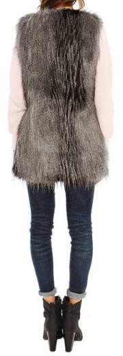 Fur Vest W Leather Trim