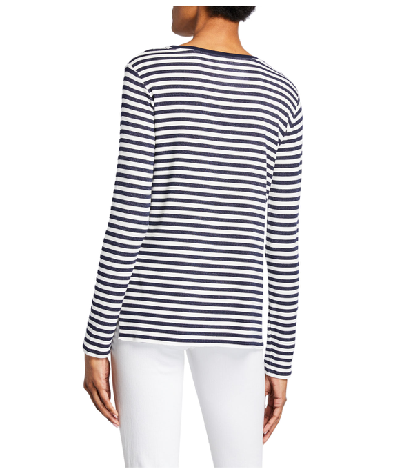 French Terry Stripe L/S Crew w Side Slits