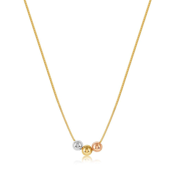 viviana dontanon three tone trio gold plated necklace