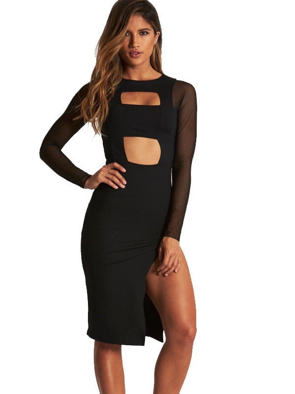 Banded Cut Out Midi Slit Dress