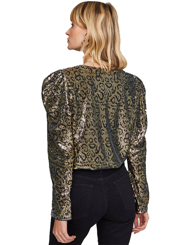 Shimmy Bodysuit in Gold Leopard Sequin