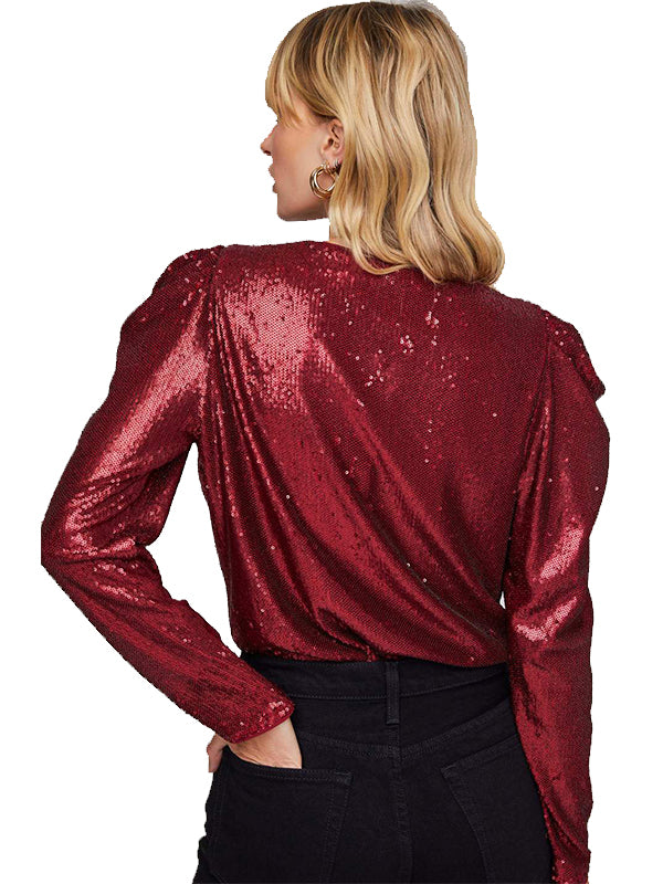 Shimmy Metallic Bodysuit in Maraschino Red
