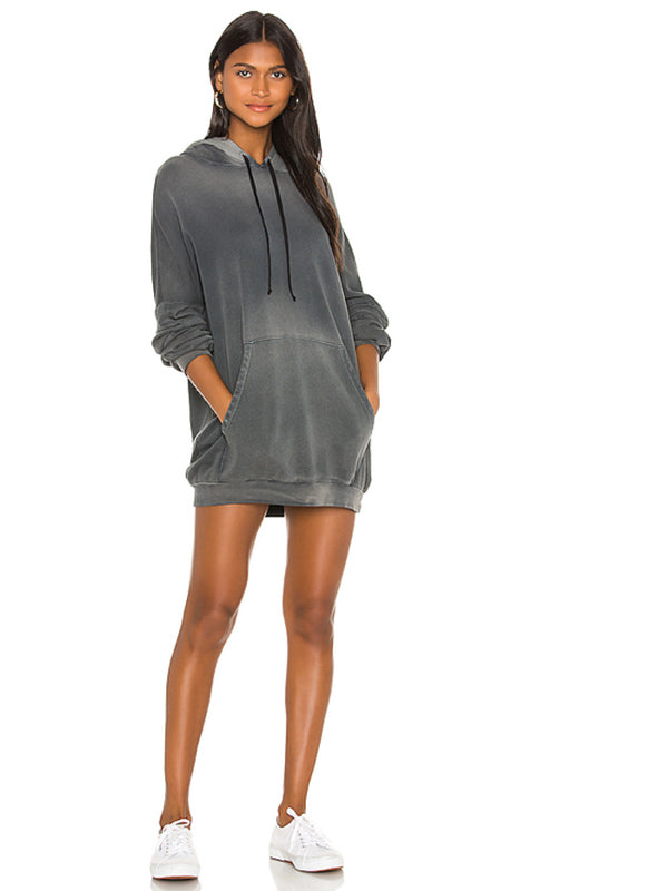 Brayden Hoodie Mini Dress in Faded Graphite