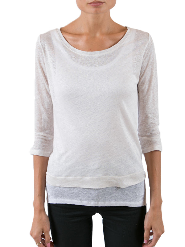 Linen Double Layer Boatneck Tee