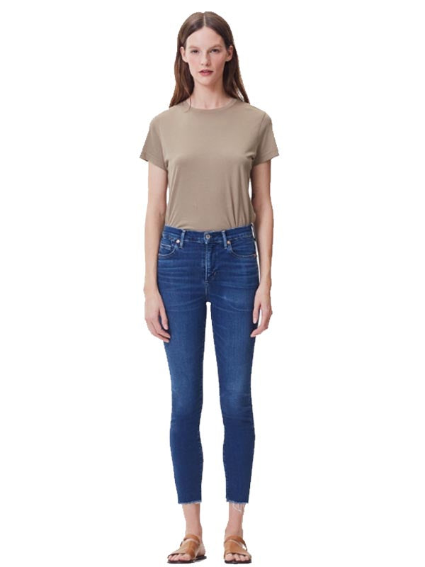 Rocket Crop High Rise Skinny in Frequency