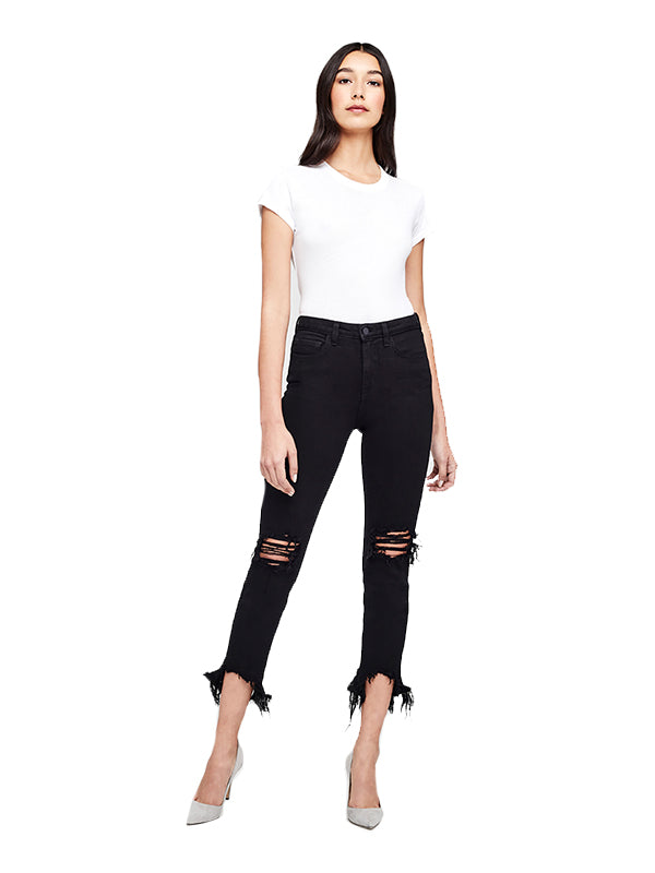High Line H/R Skinny Jean in Saturated Black Destruction