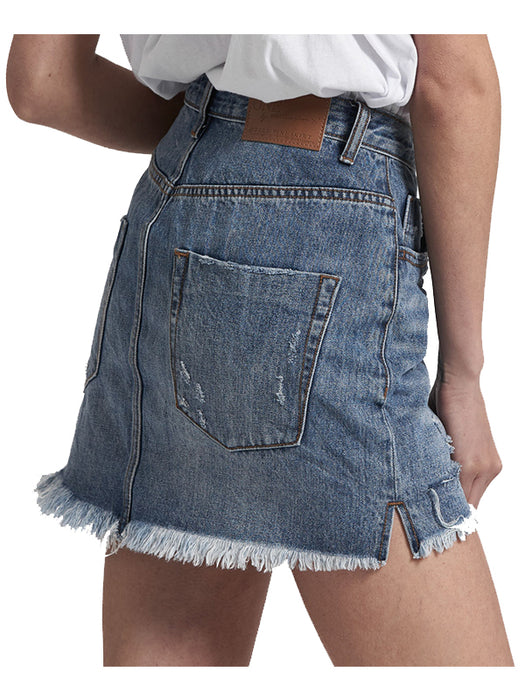 2020 Mini High Waist Denim Skirt in Johnny Blue