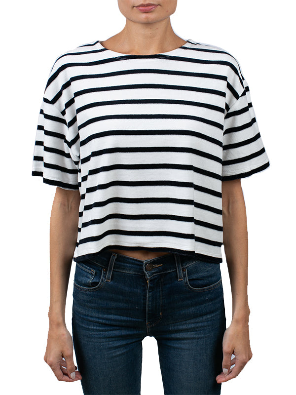 Stripe 3/4 Sleeve Semi Relaxed Crew Tee