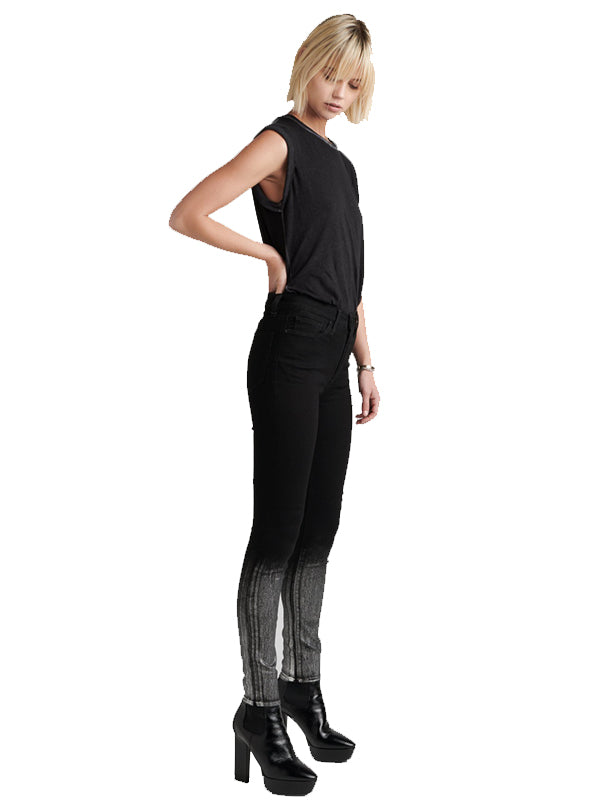 Barbara High Waist Super Skinny Ankle in Black/Metallic