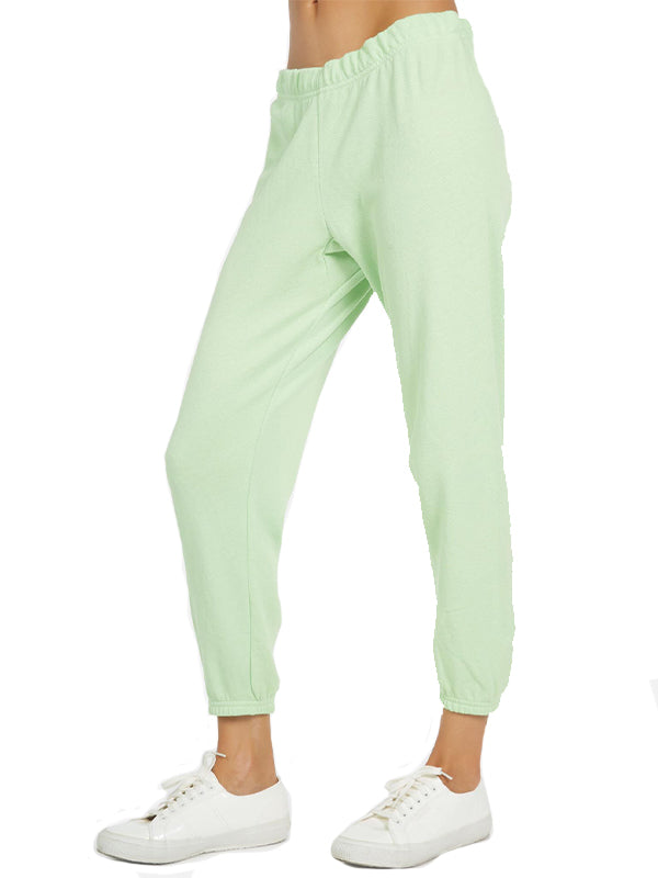 Nate Crop Sweatpant in Slime Green
