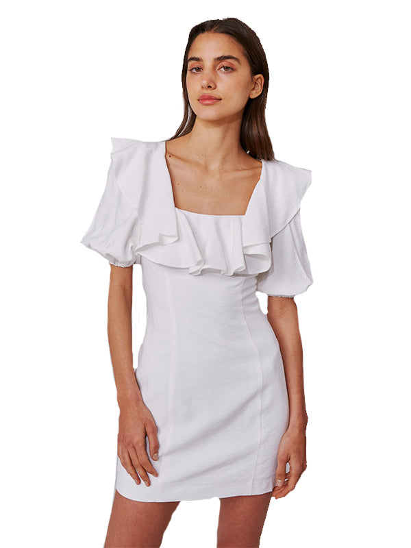 New Places Short Sleeve Dress in Ivory