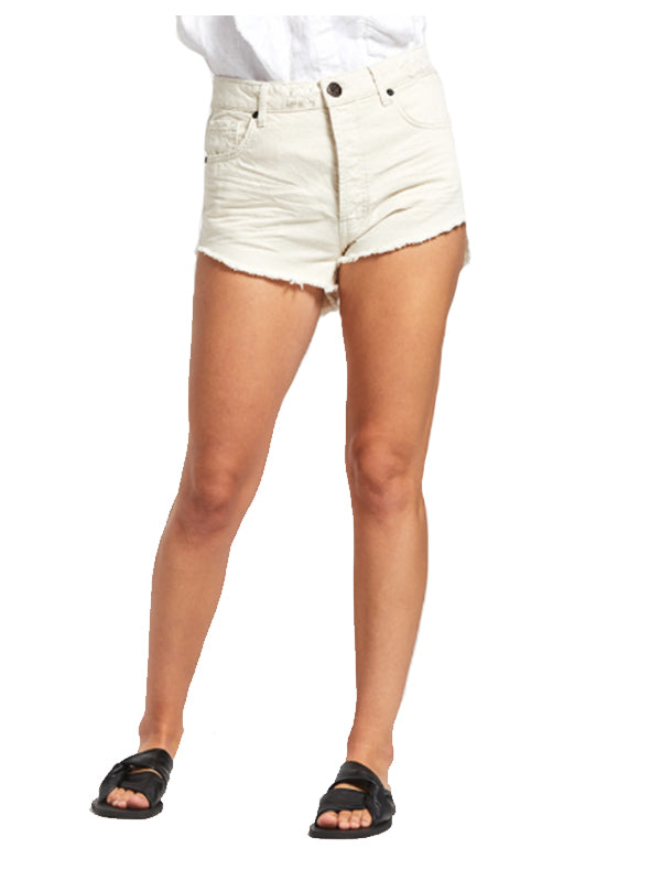 Outlaws Mid Length Denim Shorts in Nash Cream