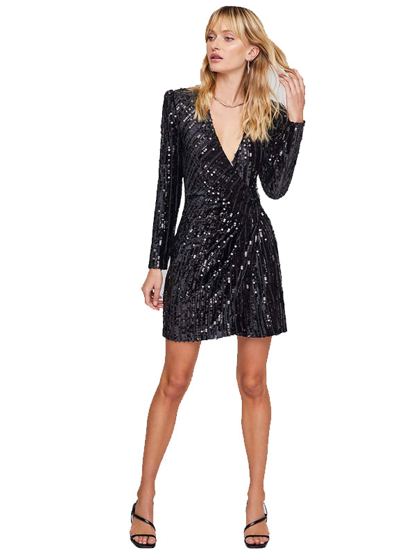 Paris Sequin Wrap Dress