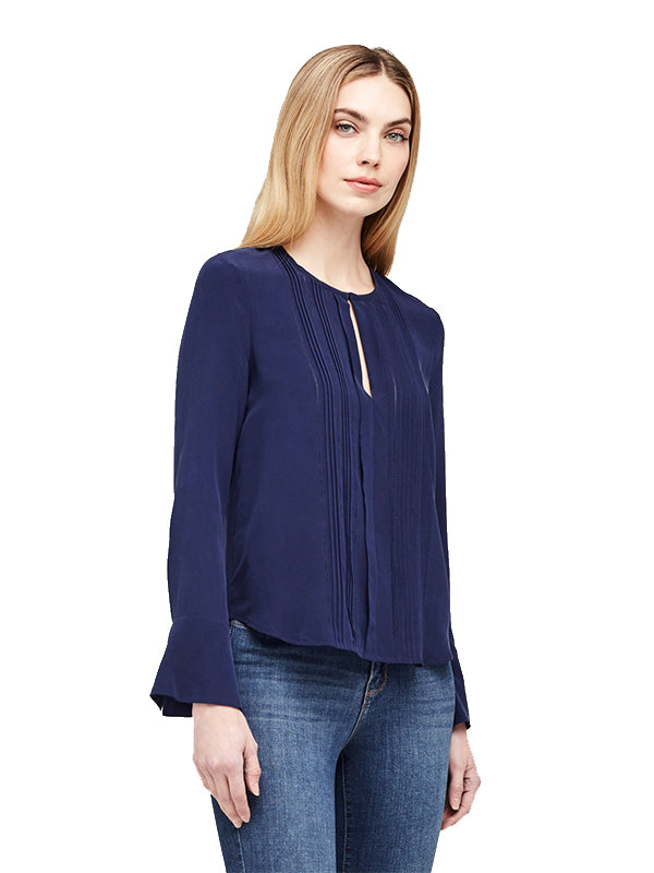 Simone Pleated L/S Blouse in Navy