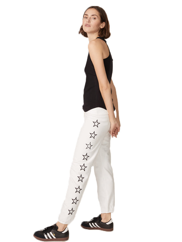 Vintage Sweats W/ Outline Star Embroidery in White