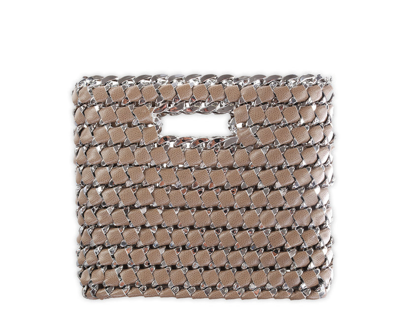 tambonita faux leather chain taupe handbag
