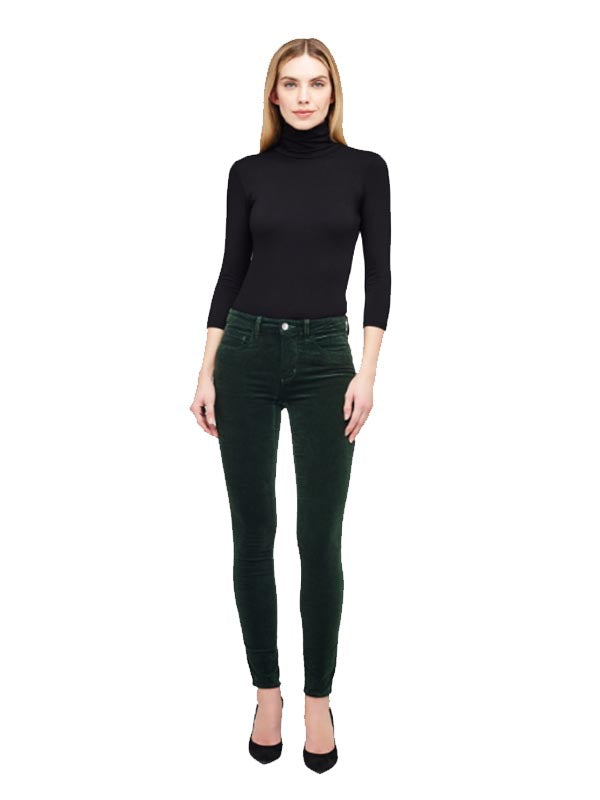 Marguerite High Rise Velvet Skinny in Moss