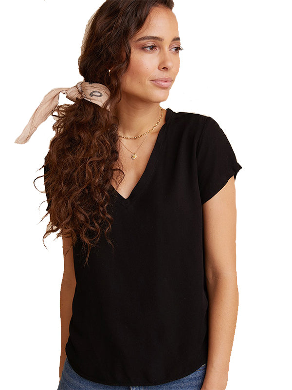 V-Neck Tee in Black