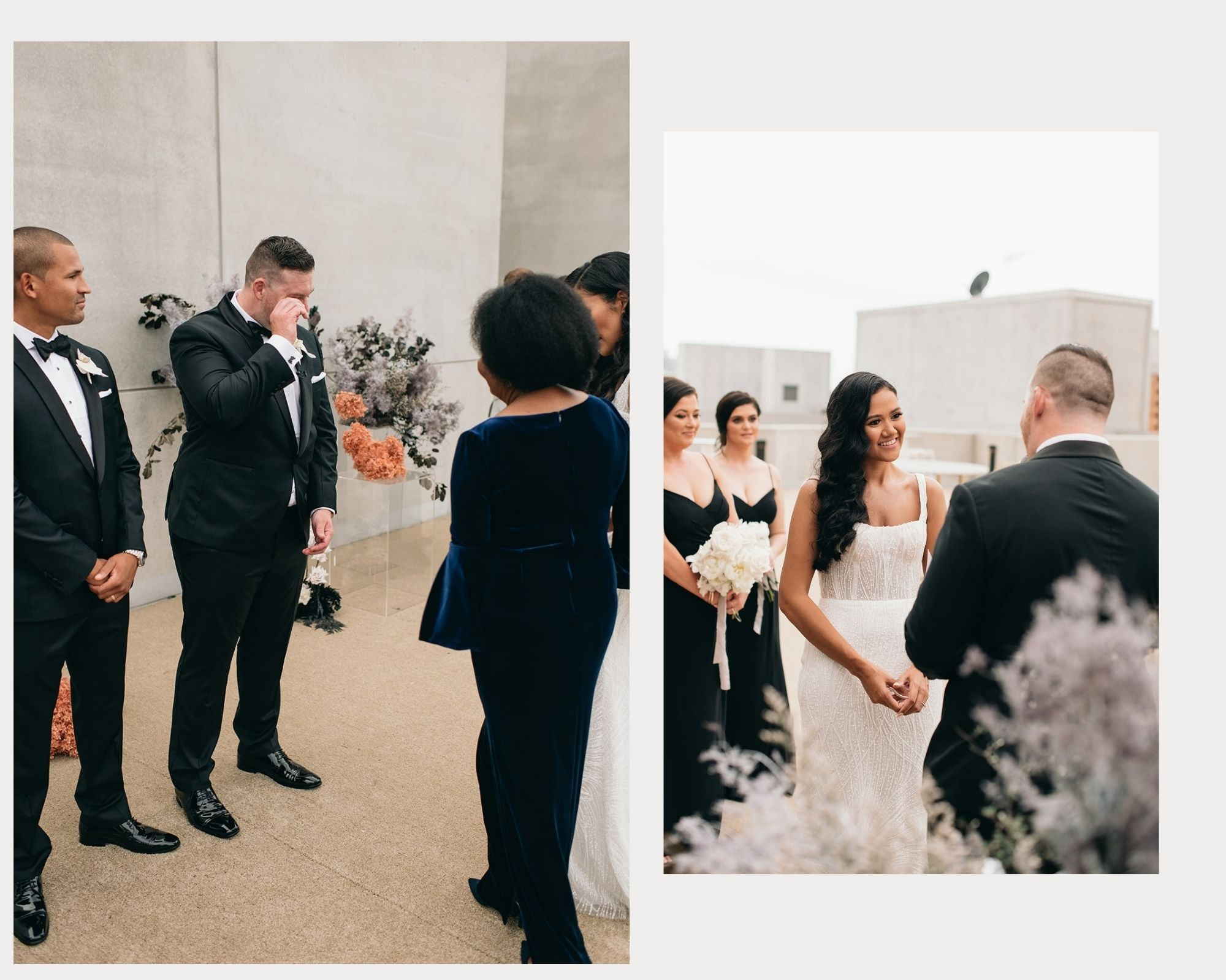 bride and grooms first look
