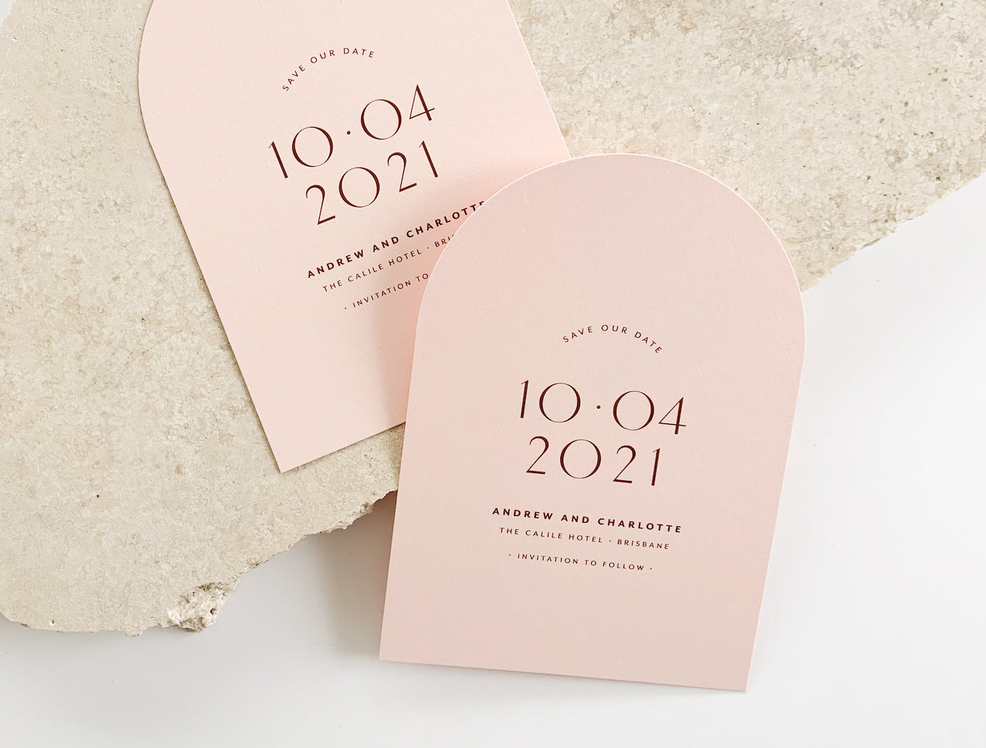 wedding save the date cards in a arch design