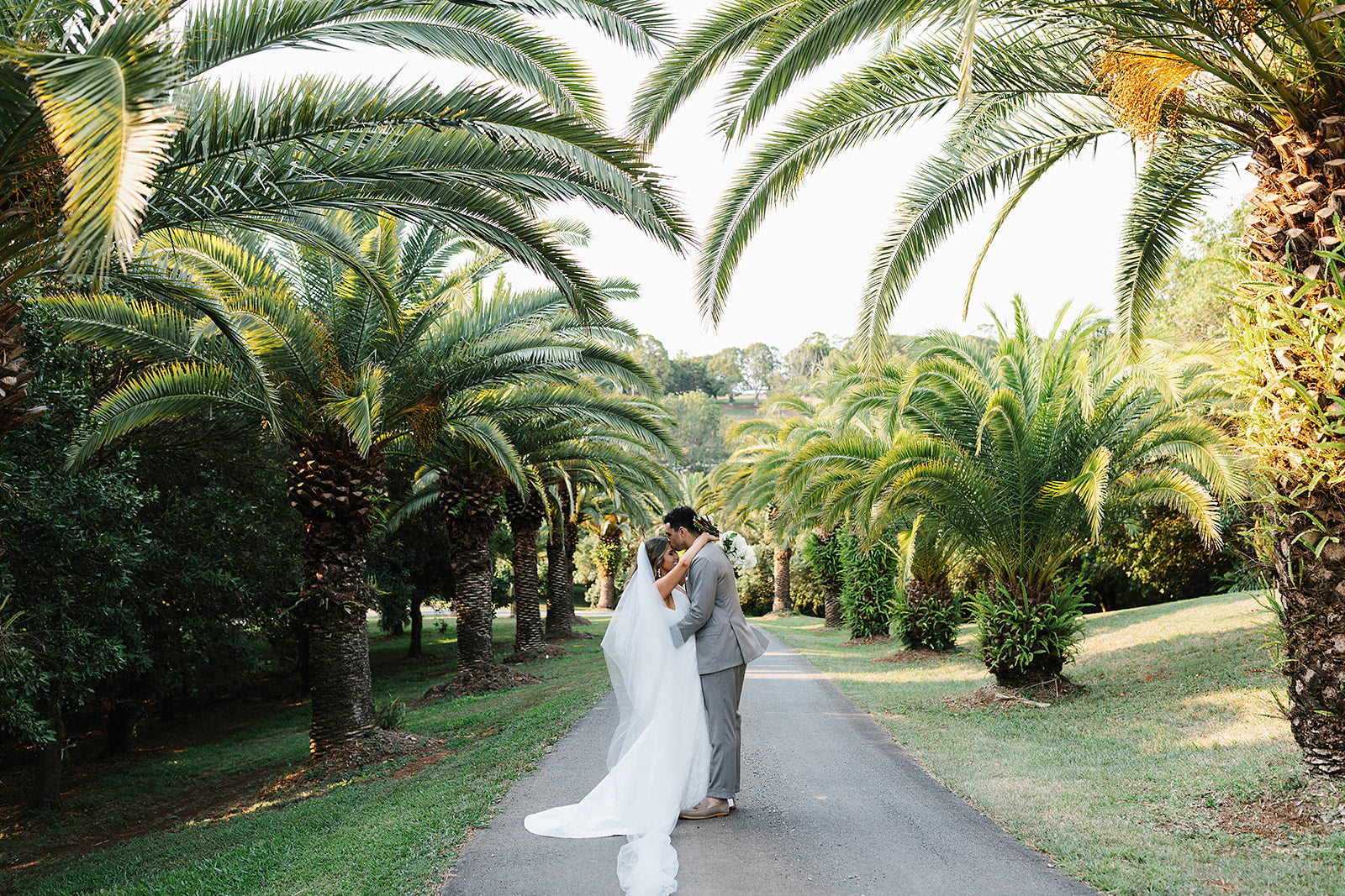 bride and groom portraits at the hinterland house Byron Bay wedding venue