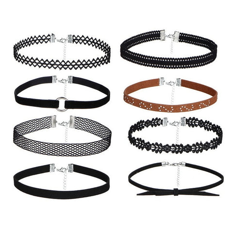 8 PCS Leather Choker Set
