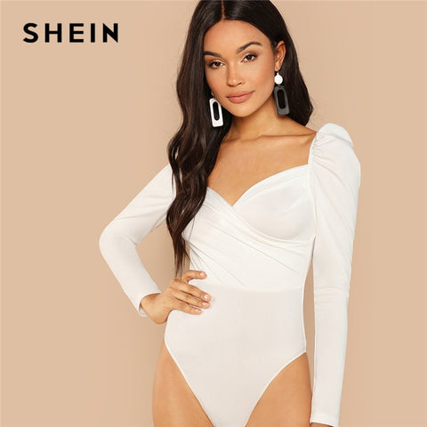 White Elegant Surplice Neck Bodysuit