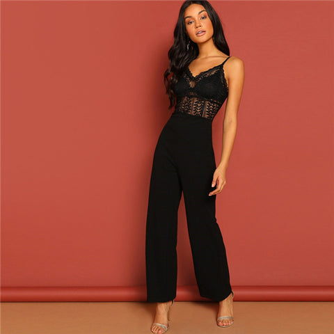 Black Lace Hollow Jumpsuit