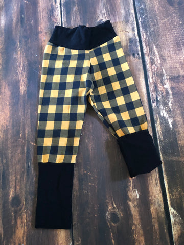 Grow with me Mustard plaid forever fit joggers
