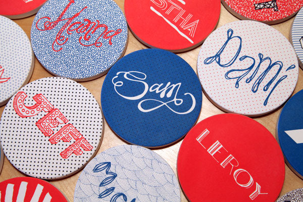Hand illustrated absorbent stone coasters