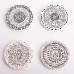 Doodle black and white Coasters